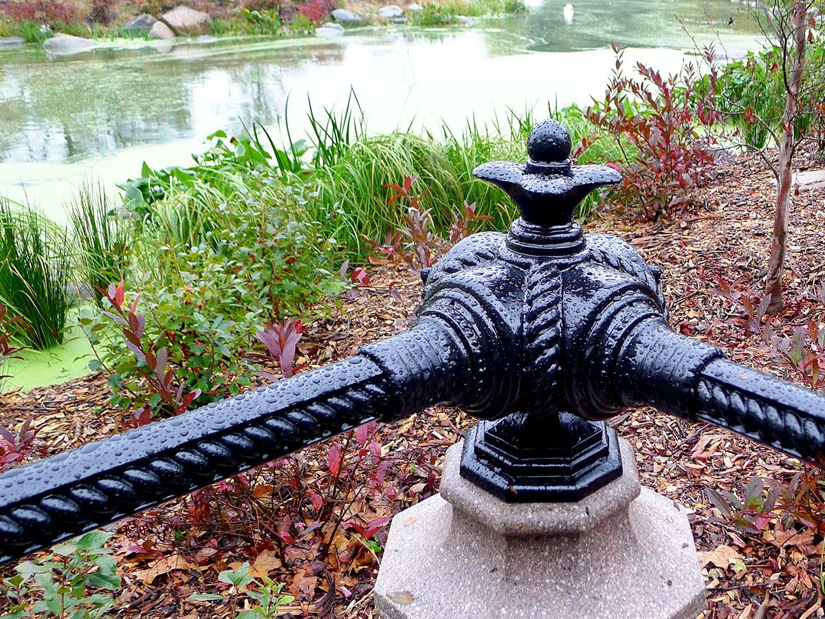 Restored cast iron corner post, Prospect Park.