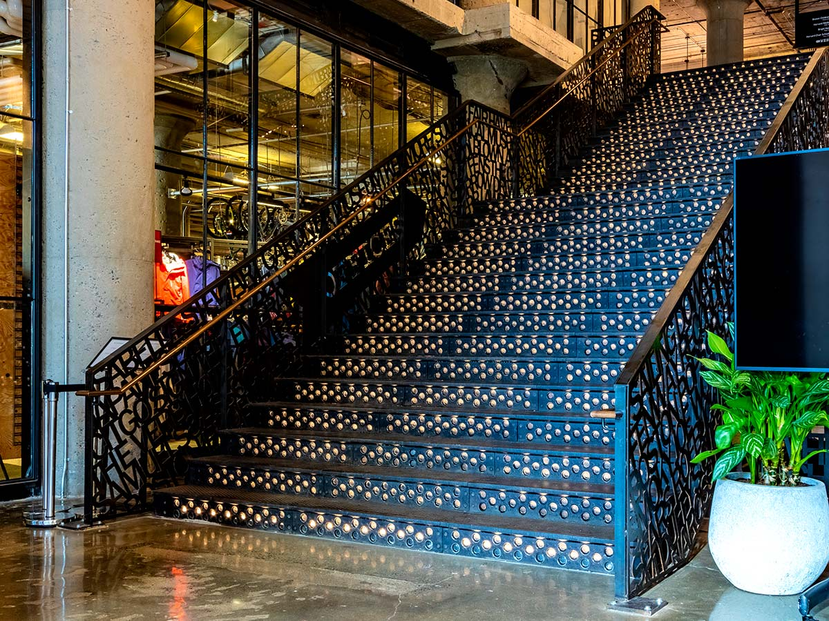 Cast iron stair treads and risers at 401 Park, Time Out Market, Boston.