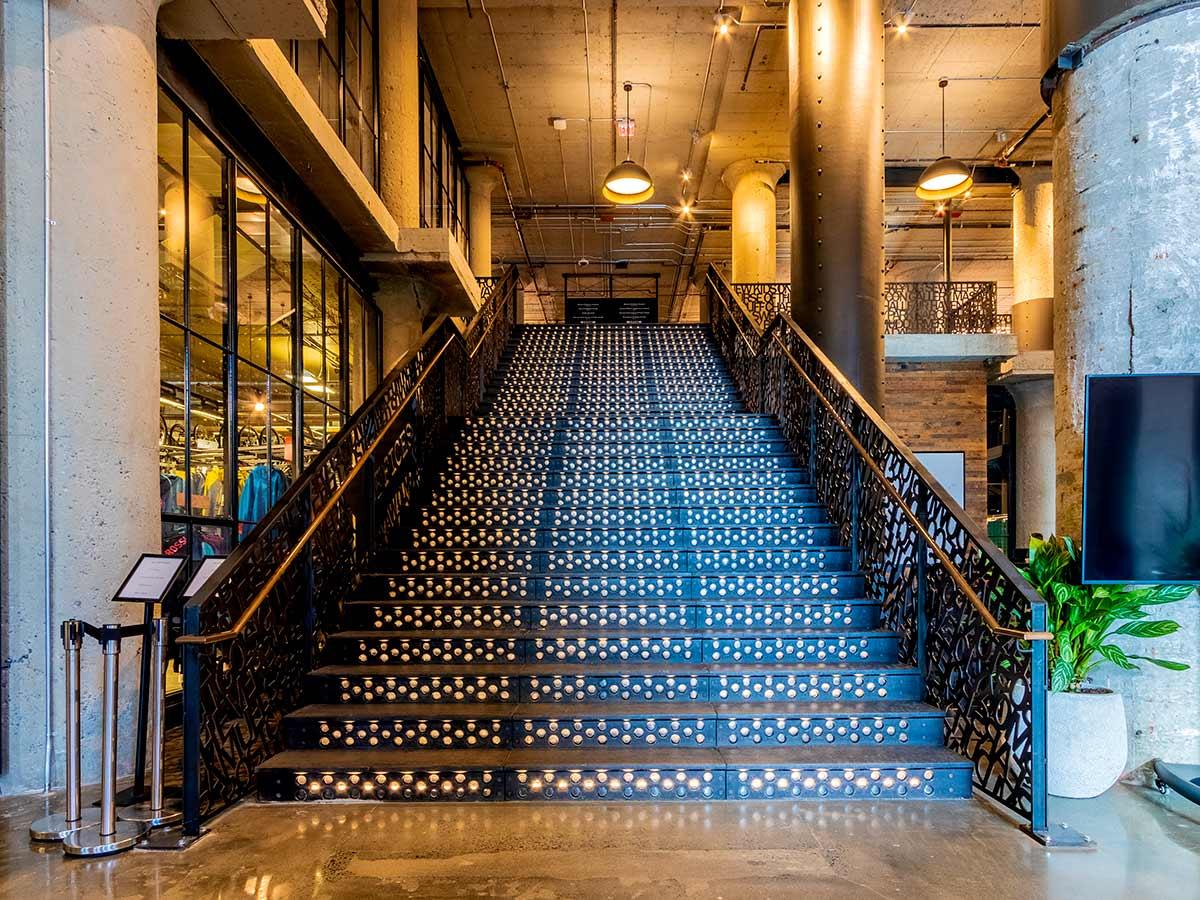 Cast iron staircase at 401 Park, Boston.