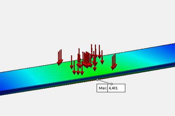 FEA simulation of cast iron tread.