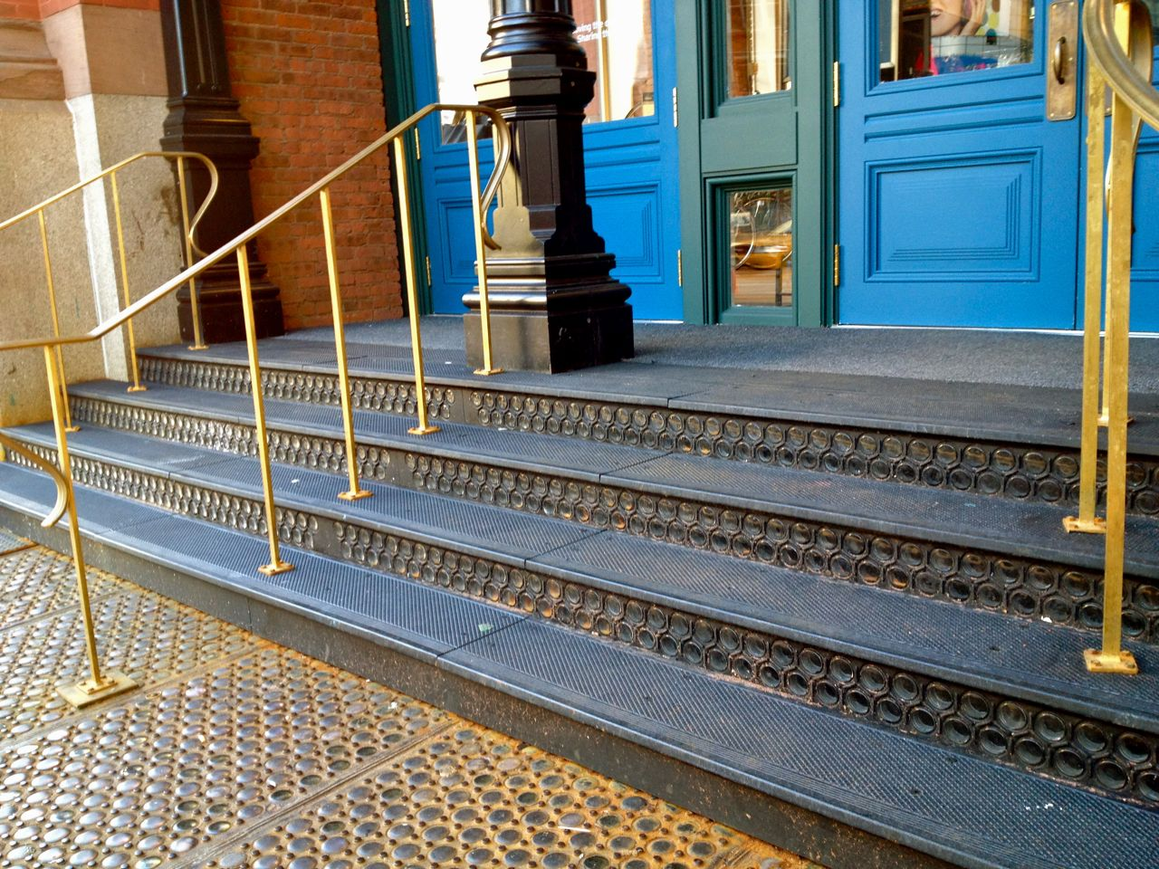 Cast iron stair treads, risers and landing panels, REI Manhattan.