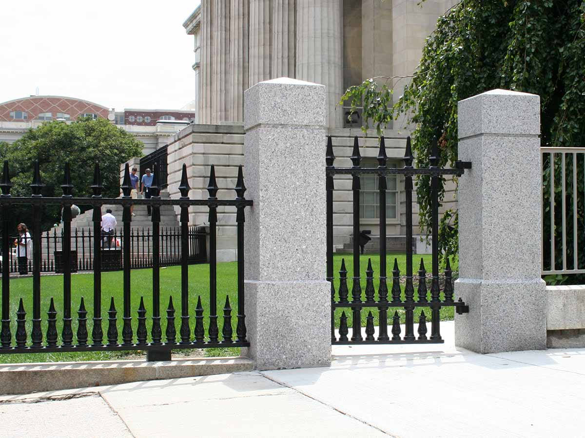 Cast iron fence and gate reproductions at The National Portrait Gallery, Smithsonian Institute.