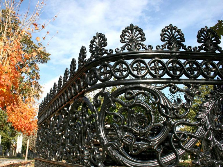 Curved cast iron rinceau fence panel, Hollywood Cemetery, Richmond, Virginia.