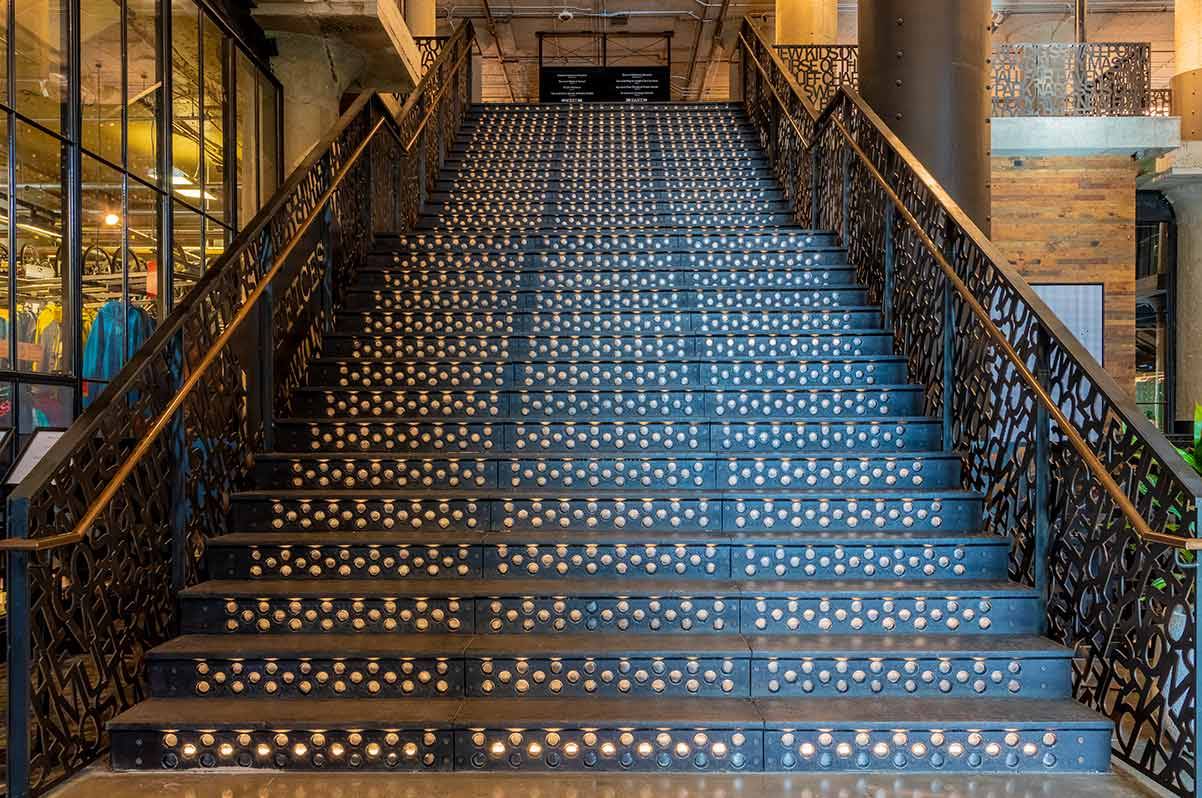 Cast iron staircase, 401 Park Building, Boston