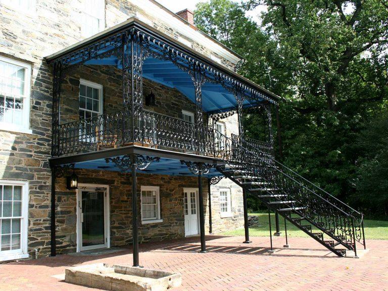 Klingle Estate restored cast iron porch.