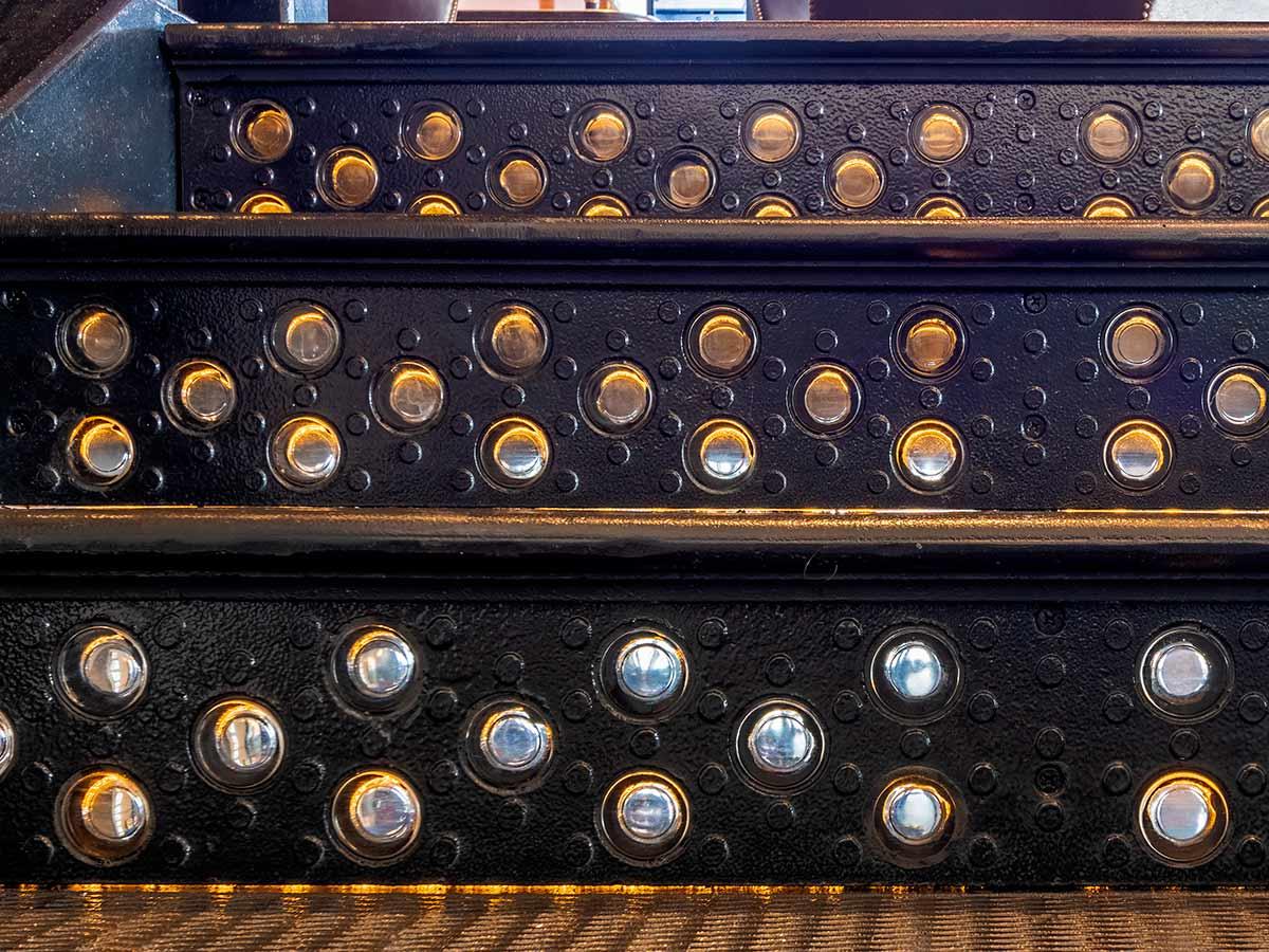 Lighted cast iron risers, Bancroft Restaurant, Boston.