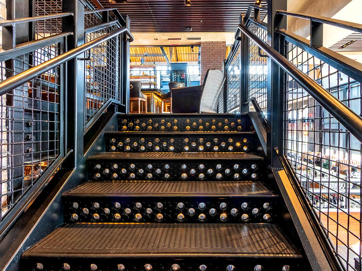 Cast iron staircase at Bancroft Restaurant, Boston.