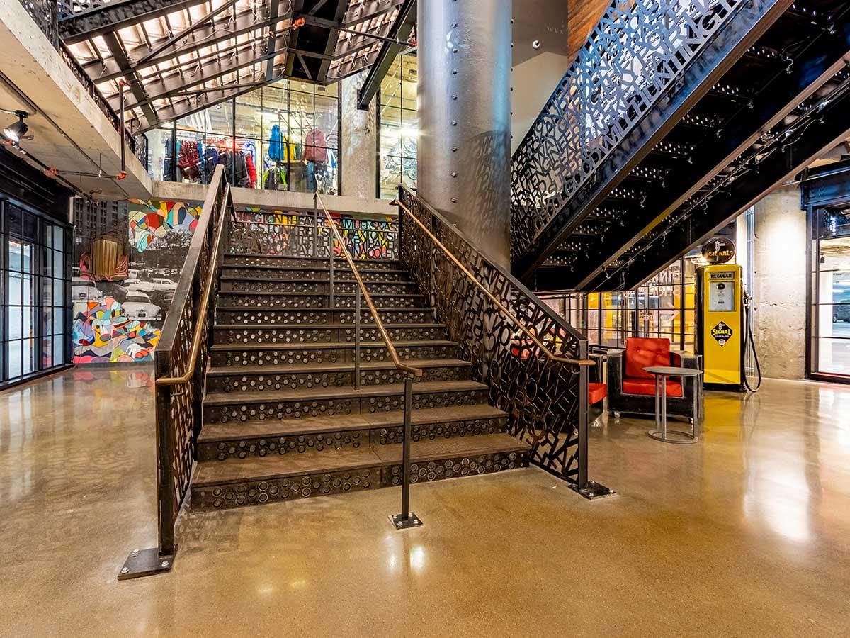 Monumental cast iron staircase at The Fenway, Boston.