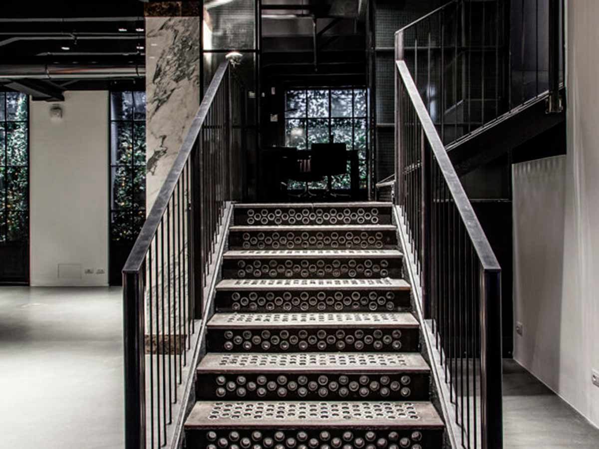 Cast iron staircase at Paul and Shark Milan.